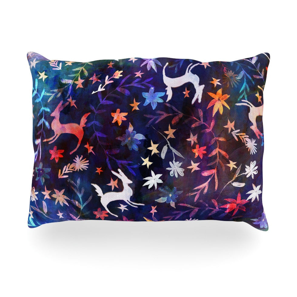 "Nikki Strange ""Watercolour Folk"" Blue Rainbow Oblong Pillow - KESS InHouse"