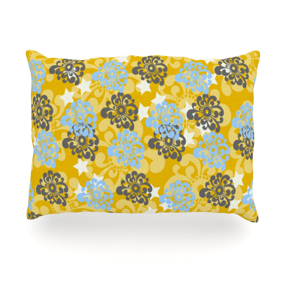 "Nandita Singh ""Blue and Yellow Flowers "" Gold Floral Oblong Pillow - KESS InHouse"