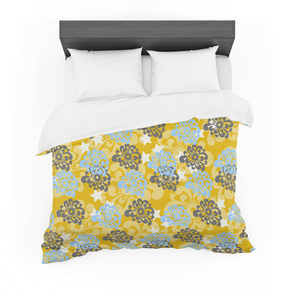 "Nandita Singh ""Blue and Yellow Flowers "" Gold Floral Cotton Duvet"