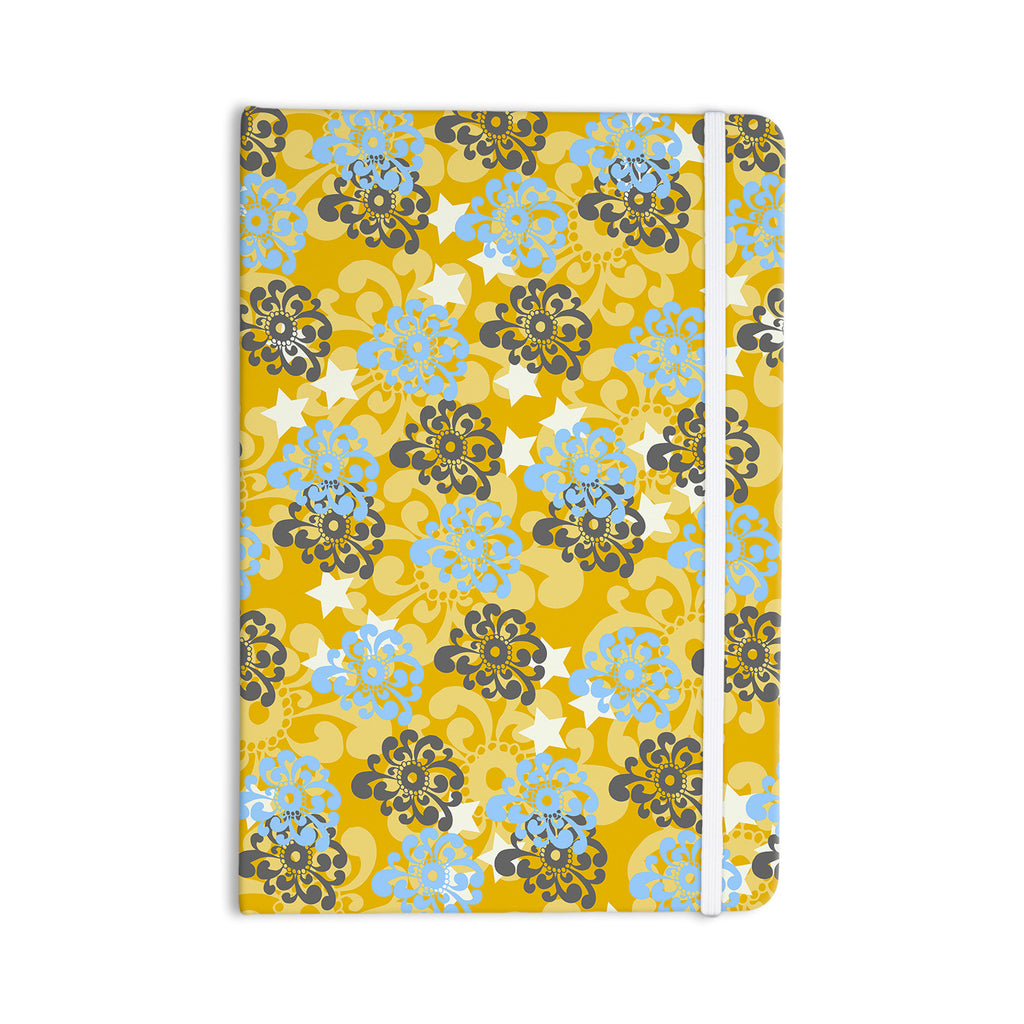 "Nandita Singh ""Blue and Yellow Flowers "" Gold Floral Everything Notebook - KESS InHouse  - 1"