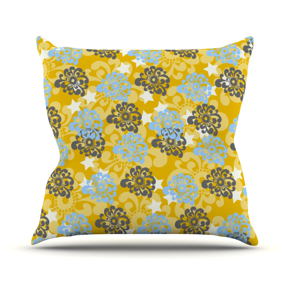 "Nandita Singh ""Blue and Yellow Flowers "" Gold Floral Outdoor Throw Pillow - KESS InHouse  - 1"