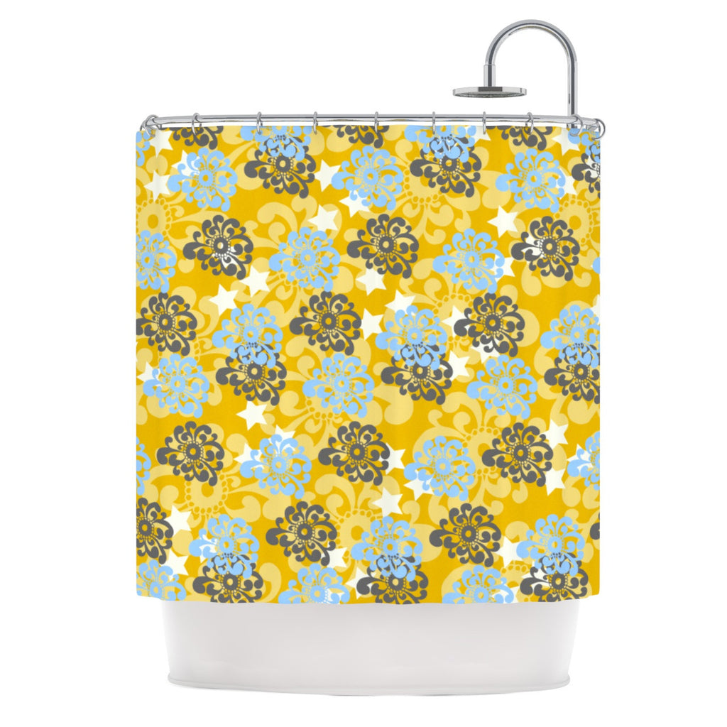 "Nandita Singh ""Blue and Yellow Flowers "" Gold Floral Shower Curtain - KESS InHouse"