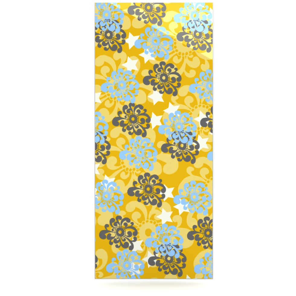 "Nandita Singh ""Blue and Yellow Flowers "" Gold Floral Luxe Rectangle Panel - KESS InHouse  - 1"