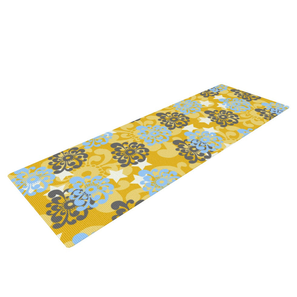 "Nandita Singh ""Blue and Yellow Flowers "" Gold Floral Yoga Mat - KESS InHouse  - 1"
