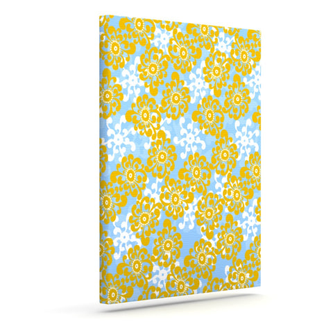 "Nandita Singh ""Blue and Yellow Flowers Alternate"" Gold Floral Outdoor Canvas Wall Art - KESS InHouse  - 1"
