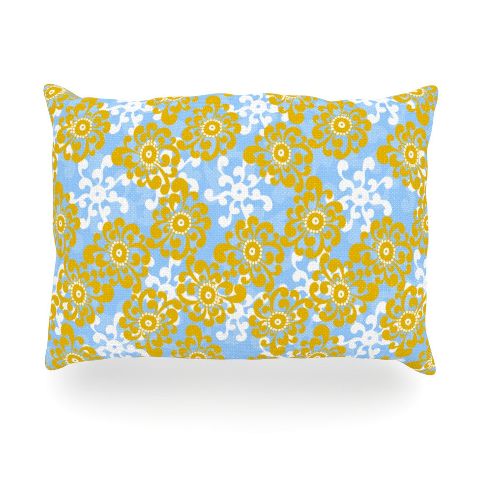 "Nandita Singh ""Blue and Yellow Flowers Alternate"" Gold Floral Oblong Pillow - KESS InHouse"