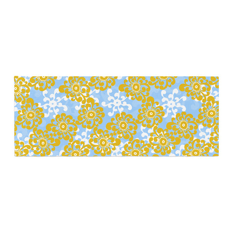 "Nandita Singh ""Blue and Yellow Flowers Alternate"" Gold Floral Bed Runner - KESS InHouse"
