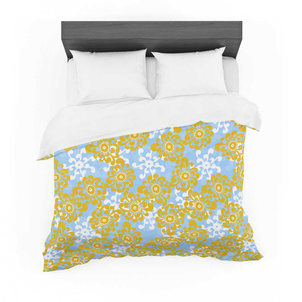 "Nandita Singh ""Blue and Yellow Flowers Alternate"" Gold Floral Cotton Duvet"