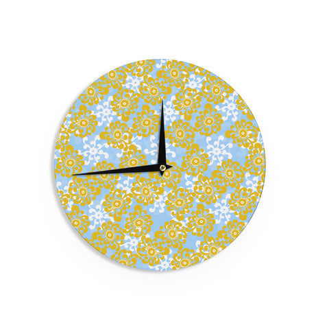 "Nandita Singh ""Blue and Yellow Flowers Alternate"" Gold Floral Wall Clock - KESS InHouse"