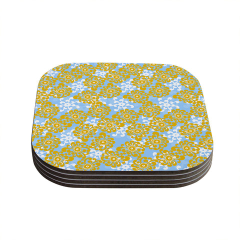 "Nandita Singh ""Blue and Yellow Flowers Alternate"" Gold Floral Coasters (Set of 4)"