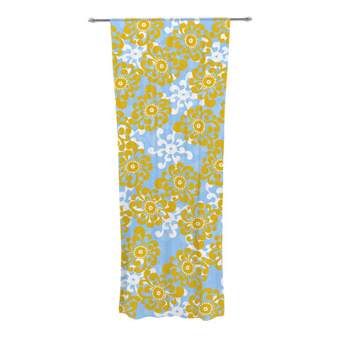 "Nandita Singh ""Blue and Yellow Flowers Alternate"" Gold Floral Decorative Sheer Curtain - KESS InHouse"