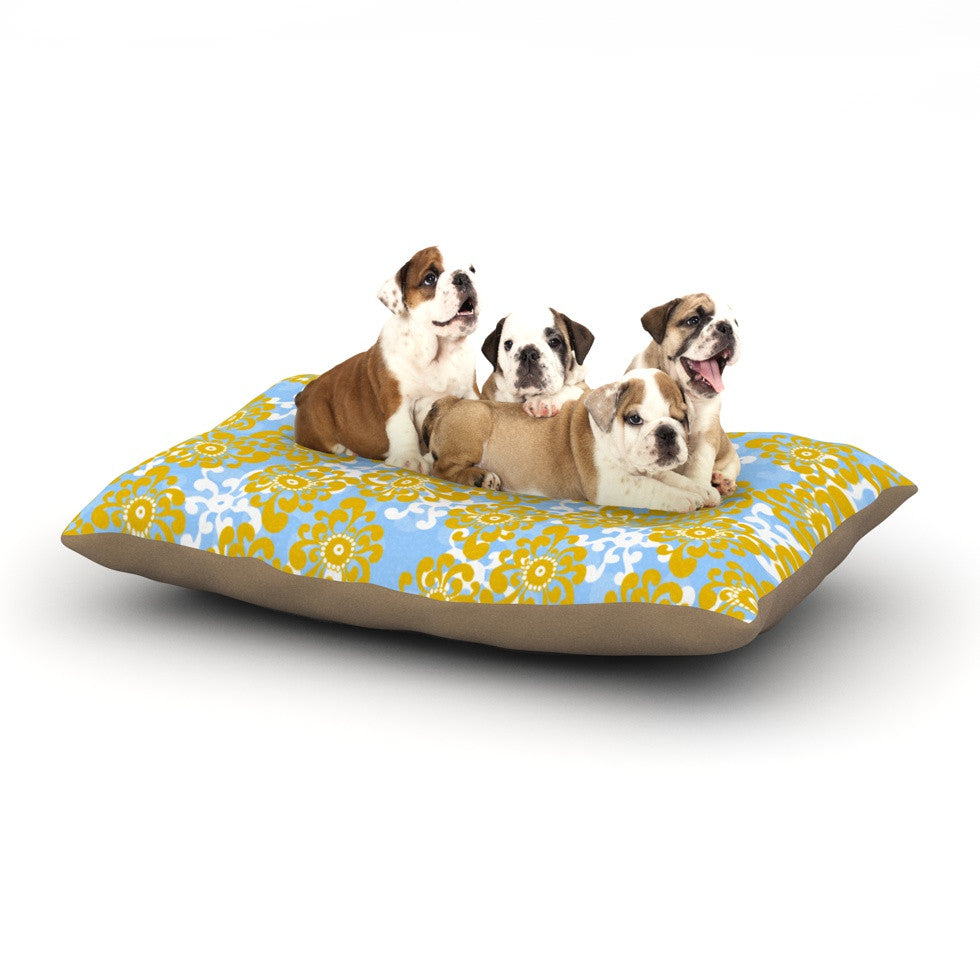 "Nandita Singh ""Blue and Yellow Flowers Alternate"" Gold Floral Dog Bed - KESS InHouse  - 1"