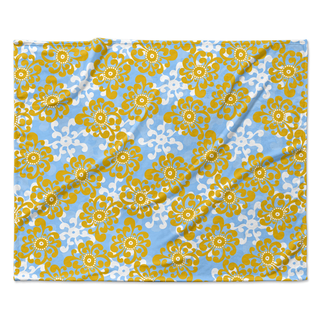 "Nandita Singh ""Blue and Yellow Flowers Alternate"" Gold Floral Fleece Throw Blanket"