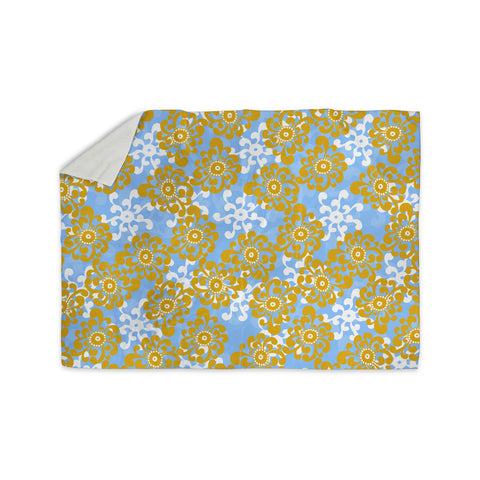 "Nandita Singh ""Blue and Yellow Flowers Alternate"" Gold Floral Sherpa Blanket - KESS InHouse  - 1"
