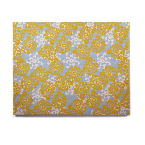 "Nandita Singh ""Blue and Yellow Flowers Alternate"" Gold Floral Birchwood Wall Art - KESS InHouse  - 1"