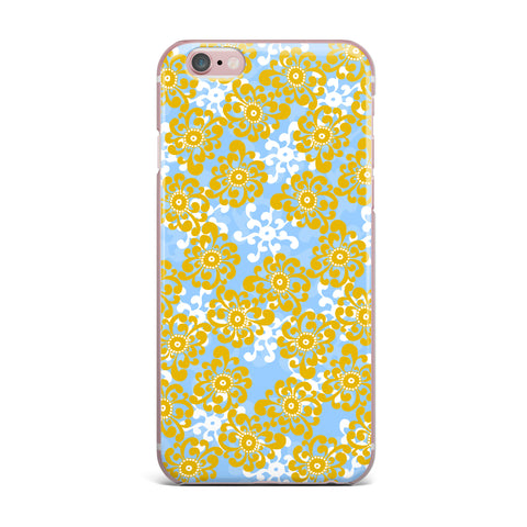 "Nandita Singh ""Blue and Yellow Flowers Alternate"" Gold Floral iPhone Case - KESS InHouse"