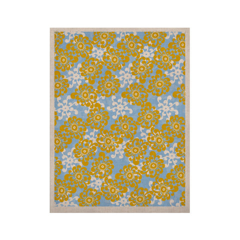 "Nandita Singh ""Blue and Yellow Flowers Alternate"" Gold Floral KESS Naturals Canvas (Frame not Included) - KESS InHouse  - 1"