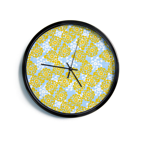 "Nandita Singh ""Blue and Yellow Flowers Alternate"" Gold Floral Modern Wall Clock"