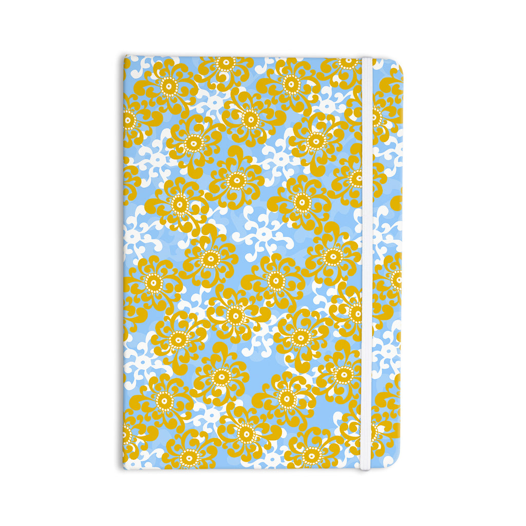 "Nandita Singh ""Blue and Yellow Flowers Alternate"" Gold Floral Everything Notebook - KESS InHouse  - 1"