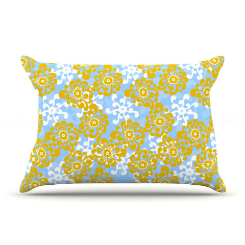 "Nandita Singh ""Blue and Yellow Flowers Alternate"" Gold Floral Pillow Sham - KESS InHouse"