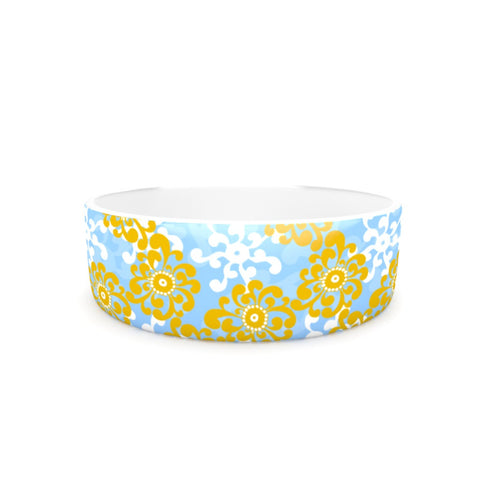 "Nandita Singh ""Blue and Yellow Flowers Alternate"" Gold Floral Pet Bowl - KESS InHouse"