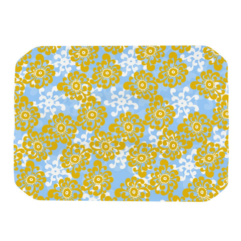 "Nandita Singh ""Blue and Yellow Flowers Alternate"" Gold Floral Place Mat - KESS InHouse"