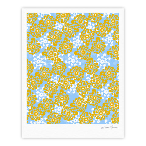 "Nandita Singh ""Blue and Yellow Flowers Alternate"" Gold Floral Fine Art Gallery Print - KESS InHouse"