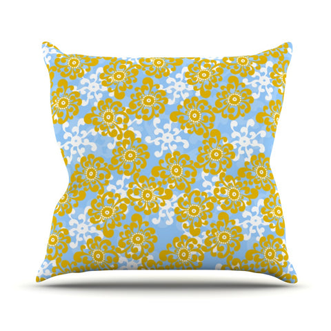 "Nandita Singh ""Blue and Yellow Flowers Alternate"" Gold Floral Outdoor Throw Pillow - KESS InHouse  - 1"