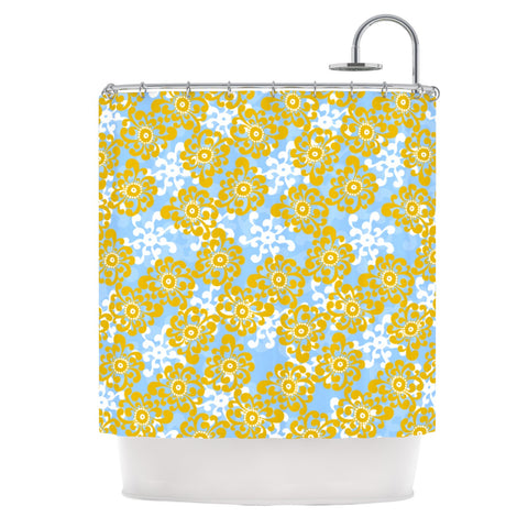"Nandita Singh ""Blue and Yellow Flowers Alternate"" Gold Floral Shower Curtain - KESS InHouse"