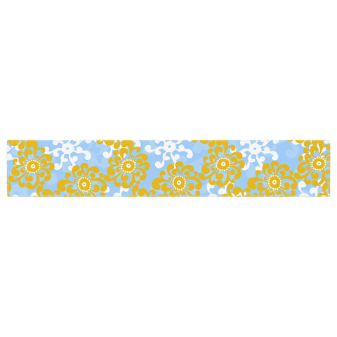 "Nandita Singh ""Blue and Yellow Flowers Alternate"" Gold Floral Table Runner - KESS InHouse  - 1"