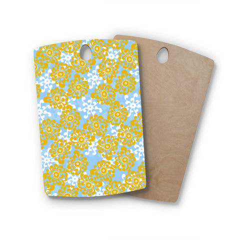 "Nandita Singh ""Blue and Yellow Flowers Alternate"" Gold Floral Rectangle Wooden Cutting Board"