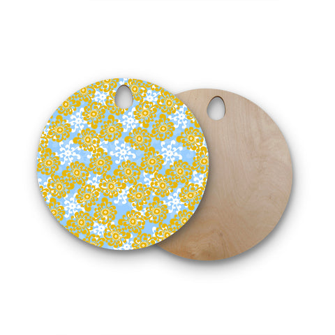 "Nandita Singh ""Blue and Yellow Flowers Alternate"" Gold Floral Round Wooden Cutting Board"