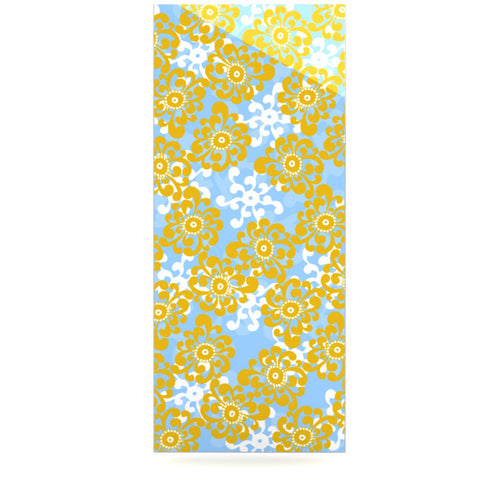 "Nandita Singh ""Blue and Yellow Flowers Alternate"" Gold Floral Luxe Rectangle Panel - KESS InHouse  - 1"