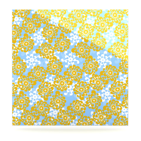 "Nandita Singh ""Blue and Yellow Flowers Alternate"" Gold Floral Luxe Square Panel - KESS InHouse  - 1"
