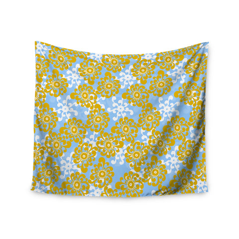 "Nandita Singh ""Blue and Yellow Flowers Alternate"" Gold Floral Wall Tapestry - KESS InHouse  - 1"
