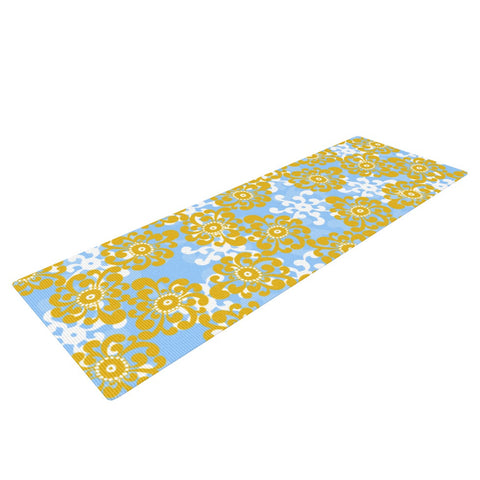 "Nandita Singh ""Blue and Yellow Flowers Alternate"" Gold Floral Yoga Mat - KESS InHouse  - 1"