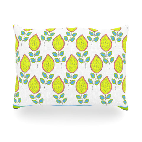 "Nandita Singh ""Yellow Leaves"" Bright Floral Oblong Pillow - KESS InHouse"