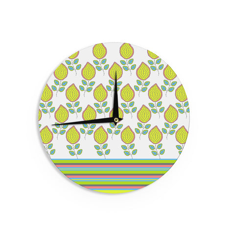 "Nandita Singh ""Yellow Leaves"" Bright Floral Wall Clock - KESS InHouse"
