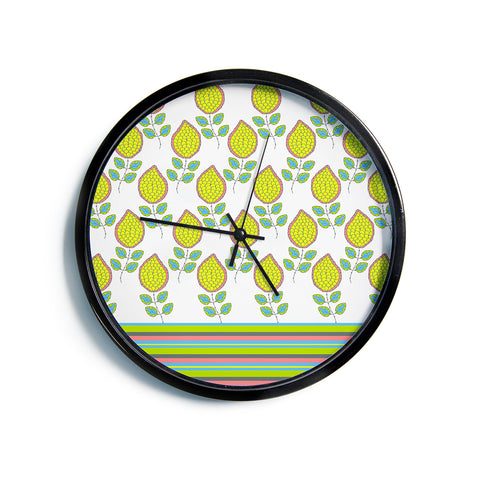 "Nandita Singh ""Yellow Leaves"" Bright Floral Modern Wall Clock"