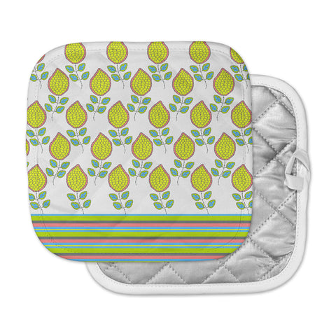 "Nandita Singh ""Yellow Leaves"" Bright Floral Pot Holder"