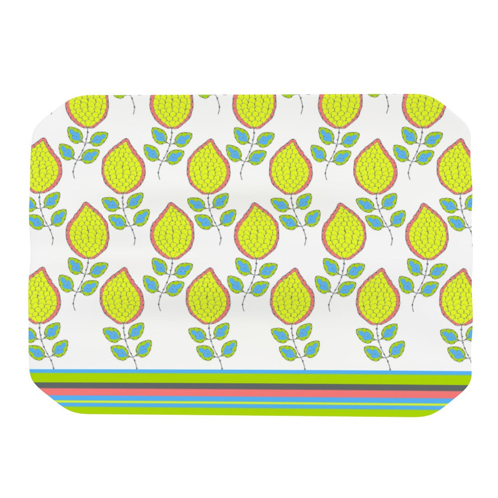 "Nandita Singh ""Yellow Leaves"" Bright Floral Place Mat - KESS InHouse"