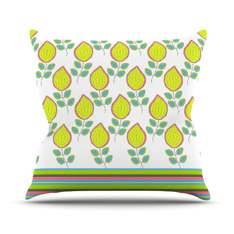 "Nandita Singh ""Yellow Leaves"" Bright Floral Outdoor Throw Pillow - KESS InHouse  - 1"