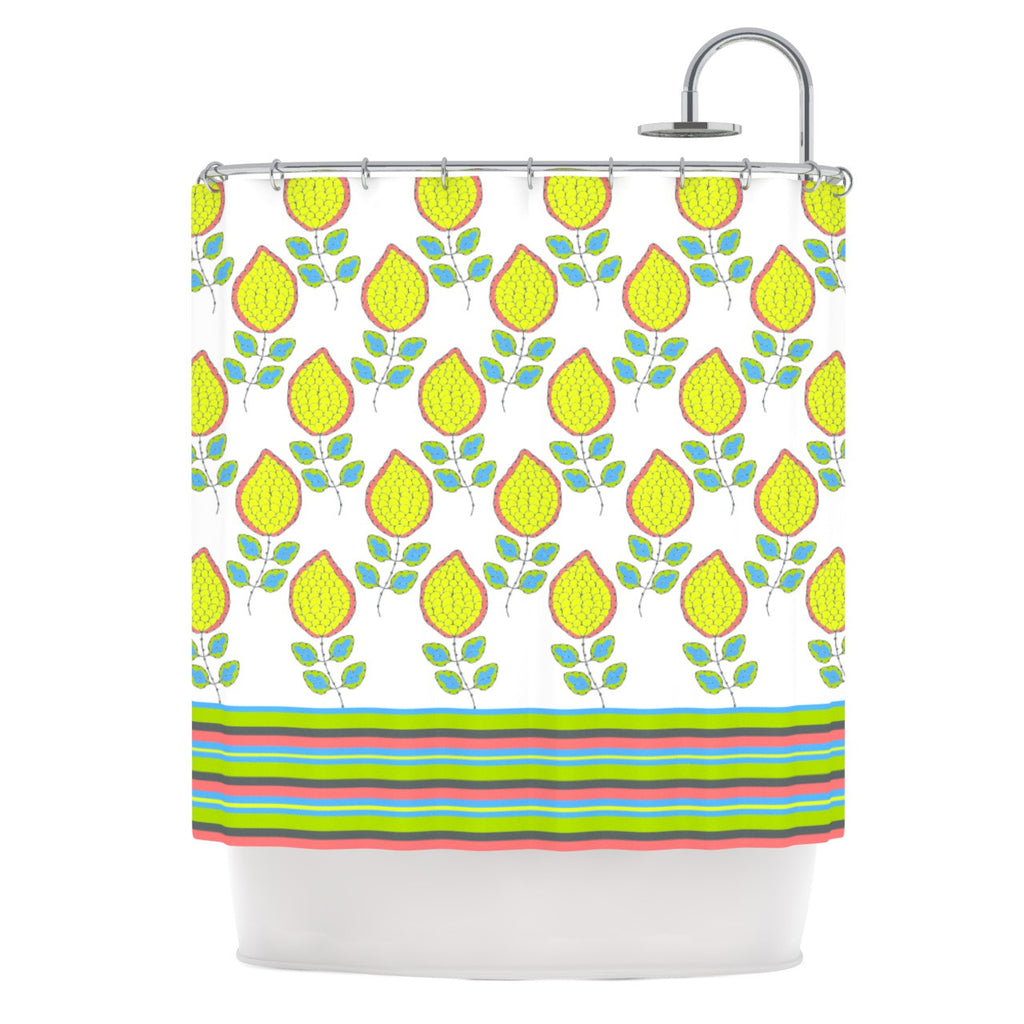 "Nandita Singh ""Yellow Leaves"" Bright Floral Shower Curtain - KESS InHouse"
