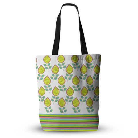 "Nandita Singh ""Yellow Leaves"" Bright Floral Everything Tote Bag - KESS InHouse  - 1"