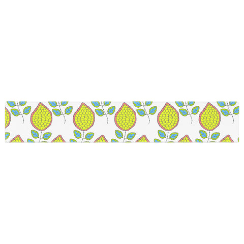 "Nandita Singh ""Yellow Leaves"" Bright Floral Table Runner - KESS InHouse  - 1"