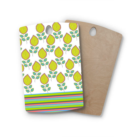 "Nandita Singh ""Yellow Leaves"" Bright Floral Rectangle Wooden Cutting Board"