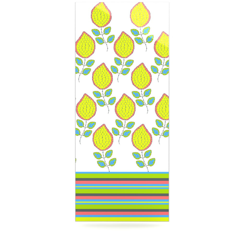 "Nandita Singh ""Yellow Leaves"" Bright Floral Luxe Rectangle Panel - KESS InHouse  - 1"