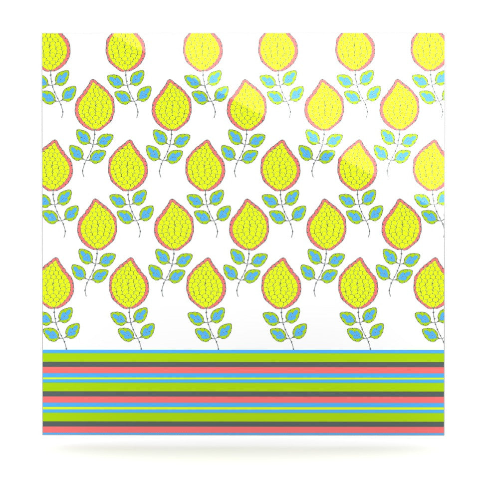 "Nandita Singh ""Yellow Leaves"" Bright Floral Luxe Square Panel - KESS InHouse  - 1"