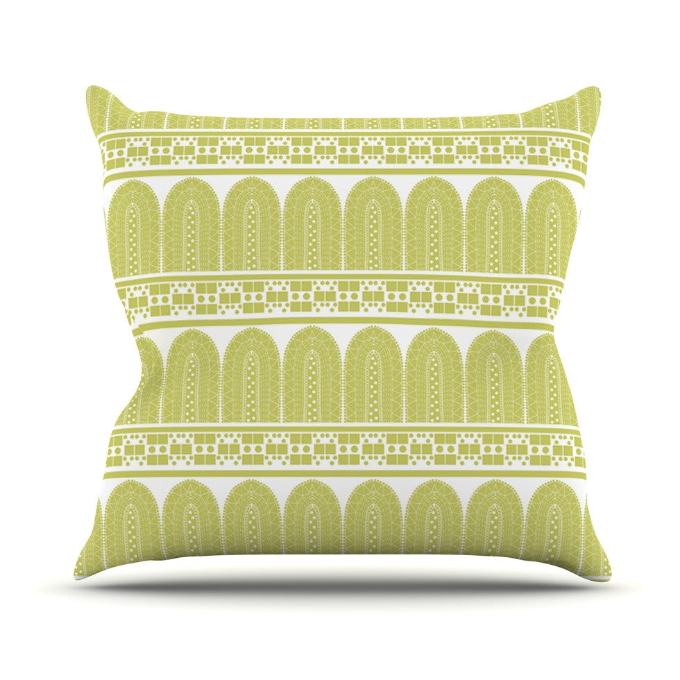 "Nandita Singh ""Tribal"" Green Pattern Outdoor Throw Pillow - KESS InHouse  - 1"