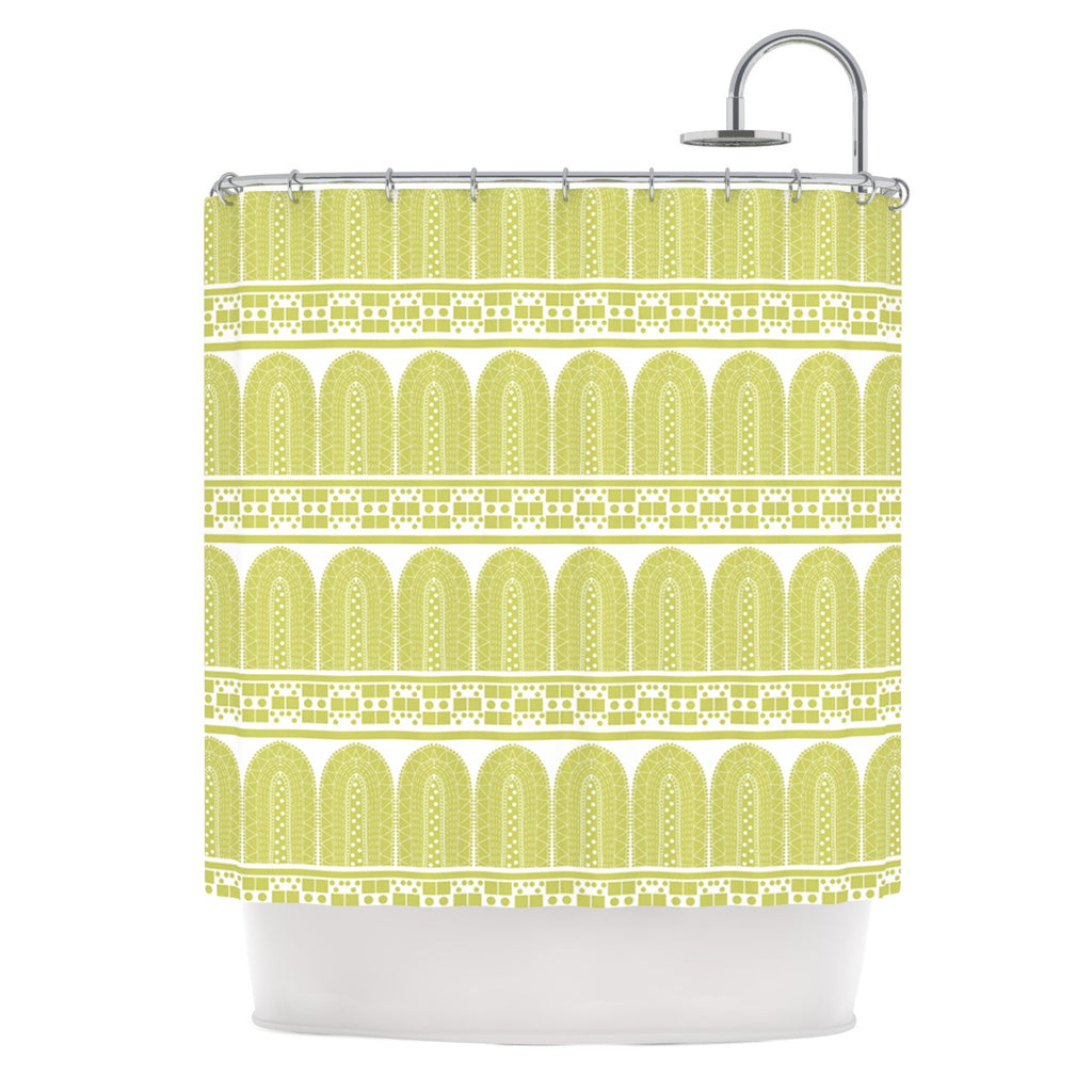 "Nandita Singh ""Tribal"" Green Pattern Shower Curtain - KESS InHouse"